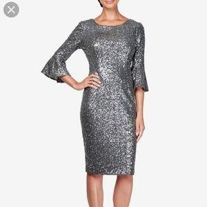 Alex Evenings sequin bell sleeve dress